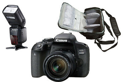 NEW Canon 800D + 18-55mm IS STM + KamKorda Bag + Flash + UK NEXT DAY DELIVERY