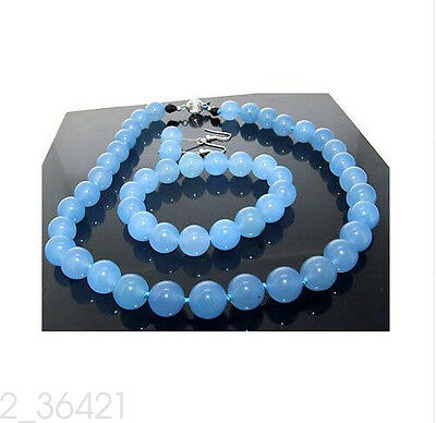 12mm Set Necklace Earrings Blue Jade Knotted Beads Necklace Bracelet