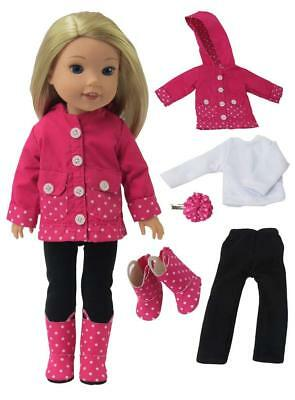 """Doll Clothes Raincoat & Boots & Pants For 14"""" American Girl Wellie Wishers 5pc"""