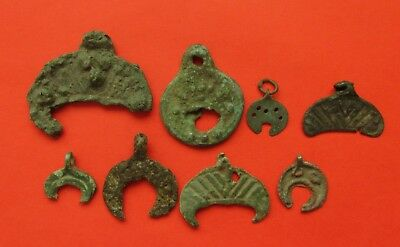 VIKING ERA BRONZE LUNAR / MOON  PENDANT - ANCIENT HISTORIC, Set of 8 pieces