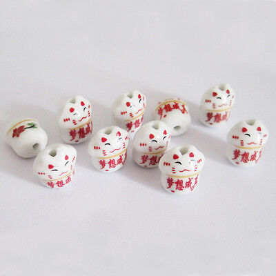 10Pcs Porcelain Happy Lucky Word Cute Lovely Cat Beads Necklace/Bracelet/Pendant