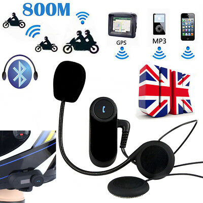 800M Bluetooth Motorcycle Interphone Helmet Headset Headphone Rider Intercom UK