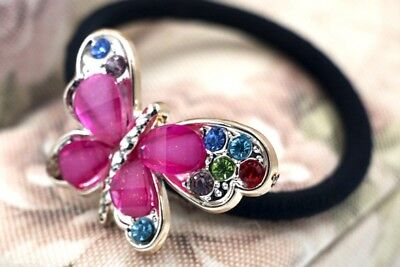 Fashion Color Crystal Rhinestone Butterfly Rubber Band Hair Ring Woman Gift