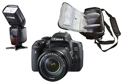 NEW Canon 750D + 18-135mm IS STM + KamKorda Bag + Flash + UK NEXT DAY DELIVERY