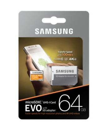 Samsung EVO 64GB Micro SD SDXC UHS-I U3 Card with Adapter 100mb/s Ultra HD