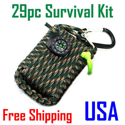 Survival Outdoor 29pc Emergency Kit First Aid Camping Rescue Gear Camouflage USA