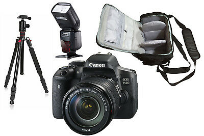 NEW Canon 750D + 18-135 STM + KamKorda Bag + Flash + Tripod UK NEXT DAY DELIVERY