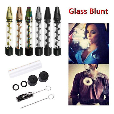 Designed 2 Series Smoking Twisty Glass Blunt Pipe Obsolete With Cleaning Set Hot
