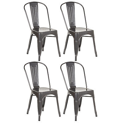 Hartleys Gunmetal Grey Industrial Metal Dining Chair Cafe/Bistro Chairs Stacking