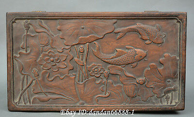 Collect Chinese wood Hand carved lotus flower fish box gifr box jewelry box