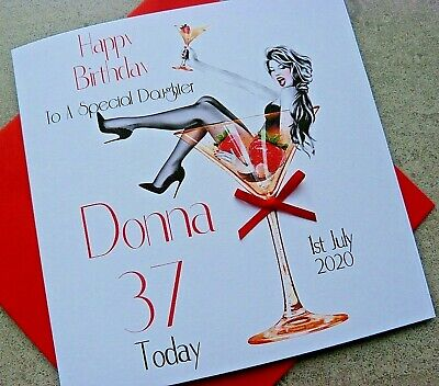 Personalised Handmade Birthday Card Glamour Girl Cocktail Glass 18th