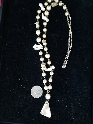 """Vintage Faux pearl & Mother Of Pearl  Necklace  with pendant 32""""L"""