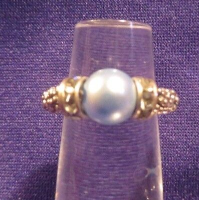 Vintage Silvertone Stretchy Ring or Band Faux Blue Pearl & Stones Size 5+