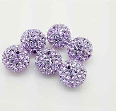 LOT100pcs 10mm micro pave disco crystal shamballa beads bracelet spacer Purple