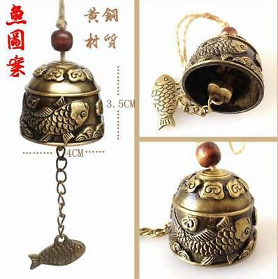 Beautiful carved Dragon Fish Bell decoration Wind chimes Feng Shui Chinese style
