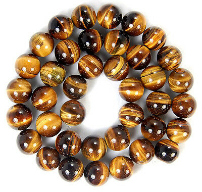 "10mm A++ Yellow Tiger's Eye Round Beads 16"" Strand Handmade Jewelry Accessory"