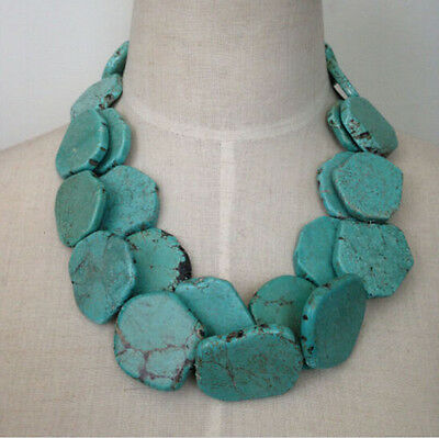Two layers turquoise necklace irregular stone necklace bib statement necklace LS