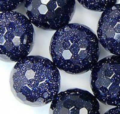 """10mm Faceted Blue Golden Stone Round Beads 15"""""""