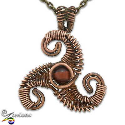 Celtic Pagan Wire Wrapped Triskele Triskelion Pick Stone Chain Pendant Necklace