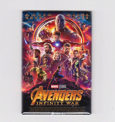 "AVENGERS INFINITY WAR / OFFICIAL - 2""x3"" MOVIE POSTER MAGNET (black panther gotg"