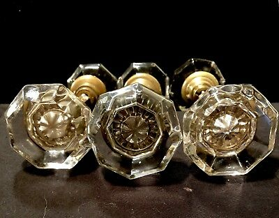 3 Pairs Vintage Octagon Shaped Crystal Glass Door Knobs With Brass Trim