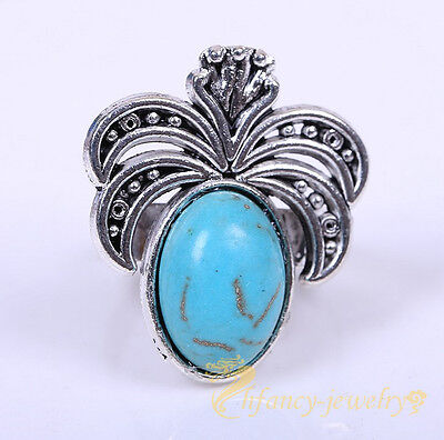 Retro Statement Turquoise Stone Ring Boho Style Silver Plated Rings Adjustable