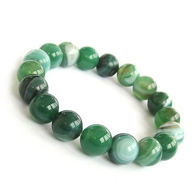 10mm Green Onyx Agate Gem Tibet Buddhist Prayer Beads Stretch Mala Bracelet