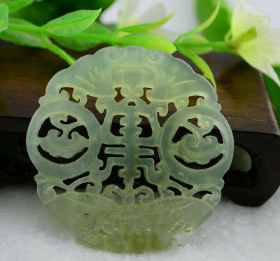 51MM New Old Chinese Hollow Blooming Flowers Natural Wada White jade Pendant