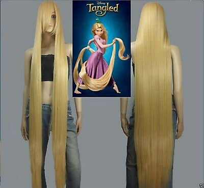 Disney Movie Tangled Rapunzel long blonde cosplay wavy wig 150cm Hot Cool