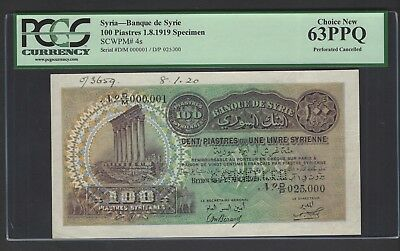 Lebanon 100 Piasters 1-8-1919 P4s  Specimen Perforated Uncirculated
