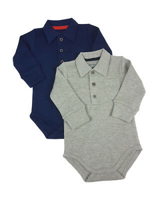 new polo collar long sleeve baby vests romper navy or grey 100% cotton  Free P&P