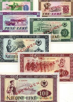 ALBANIA Europe Set of 7 UNC Specimen banknotes 1,3,5,10,25,50,100 Leke 1976