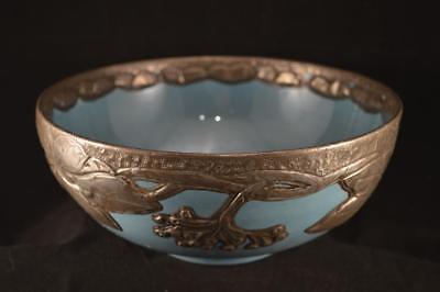 W & R CARLTON WARE ART AND CRAFTS BOWL WITH PEWTER OVERLAY - c1920-1926