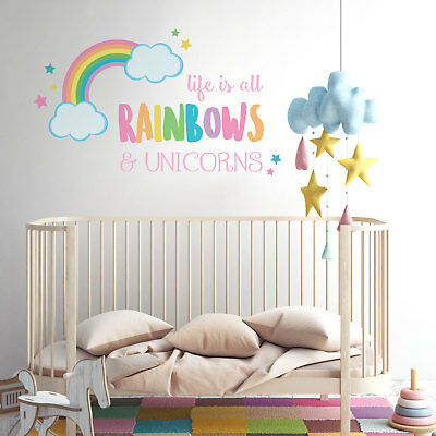 Life is all rainbows and unicorns wall sticker | Girls room décor | Wall decals