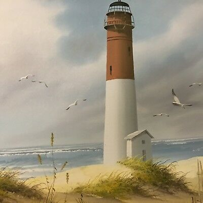 "H. Gailey "" Lighthouse"" Oil Painting on Canvas. Signed ."