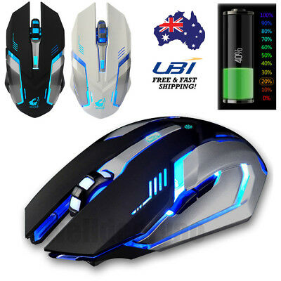AU Ship ! LED Rechargeable Wireless Gaming Mouse 1600DPI Mice Gamer Player Gift