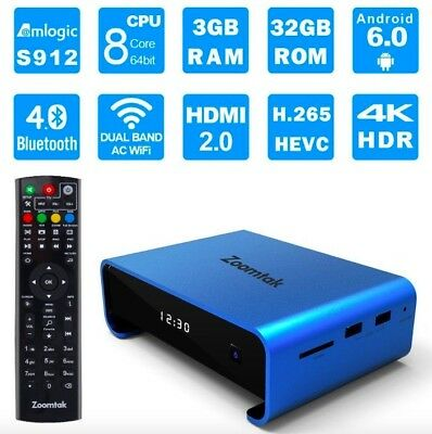 Zoomtak UPro TV Box S912 Octa Core 3GB+32GB Android 7.1 Dual Band WiFi+Free P&P!