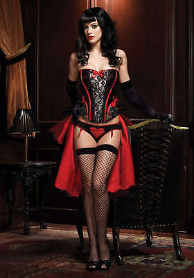 Leg Avenue Burlesque Black & Red Raven Corset with Support Boning and Side Zippe