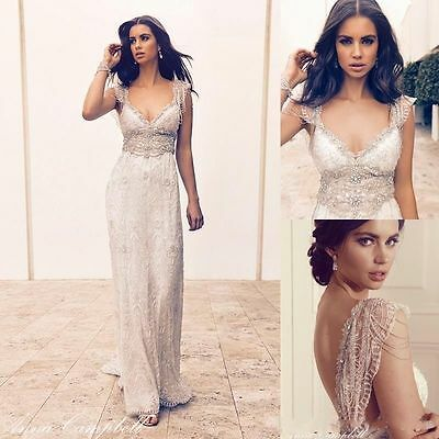 Open Back Sexy Wedding Dress Bead Lace Long A Line Custom Made Bridal Gown Beach