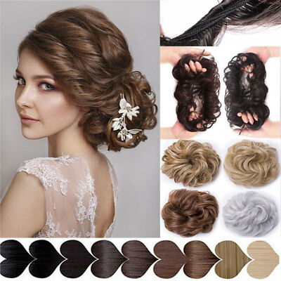 100% Real Natural Curly Messy Bun Hair Piece Scrunchie US Fake Hair  Extensions 9bcbd3a04