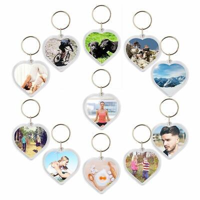 Acrylic Plastic Blank Clear Keyring Heart Shape Photo Key Rings (UK