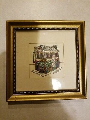 """Vintage Hand Drawn Signed J. PAUL EATON Antique Store Glass Framed 8.5x8.5"""""""