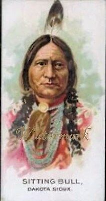 Antique Vintage Trading Card Fabric Quilt Block Native American Sitting Bull