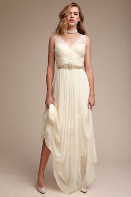 4fd3715d0367 NEW BHLDN Anthropologie Lace hitherto fleur off white dress size 0 xs Maxi  Gown