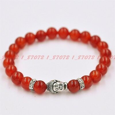 Fashion natural red jade 8 mm beads Tibet silver Buddha beads bracelet 7.5 in