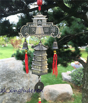 Chinese old style buddha pagoda fengshui sound aeolian bells metal Decorative