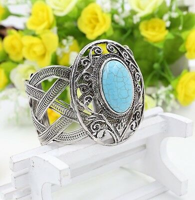 Fashion Vintage Style Oval Turquoise Bracelet Silver Hollow Alloy Bangles Cruff