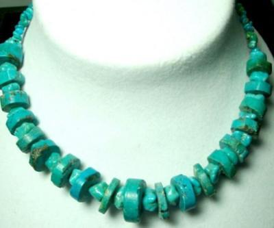 Natural Untreated Rough Cut Genuine Large Turquoise Wheels Choker Neckace