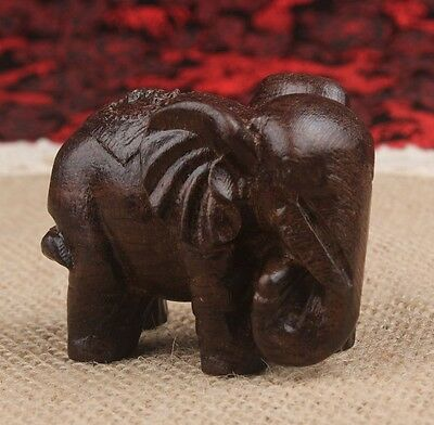 100% Hand-Carved China Rosewood Wood Auspicious Wealth Animal Elephant statue