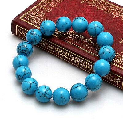 Handmade fashion natural turquoise 10 MM beads man lucky bracelet Y139